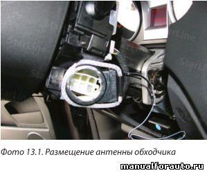 Антенну обходчика размещаем на антенне штатного иммобилайзера
