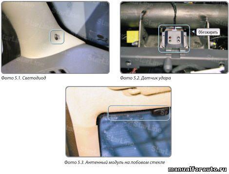 Устанавливаем светодиод на левую стойку лобового стекла Renault Logan
