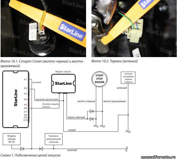 Подключаем цепи запуска на разъеме кнопки Старт-Стоп