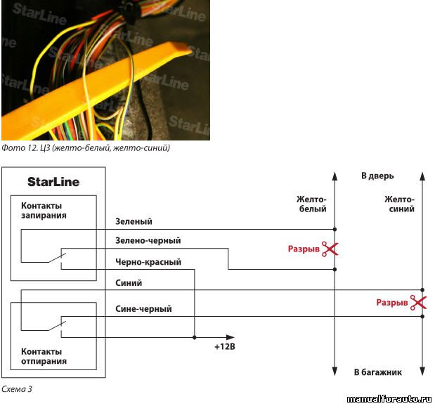 В жгуте левого порога подключаем управление центральным замком по схеме 3