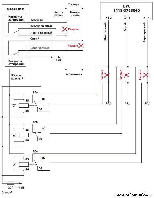 Карта установки автосигнализации Pandora LX3050 на LADA Kalina комплектации Люкс