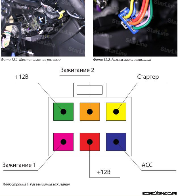 На разъеме замка зажигания подключаем питание сигнализации +12В, а также цепи зажигания и стартера согласно Иллюстрации 1
