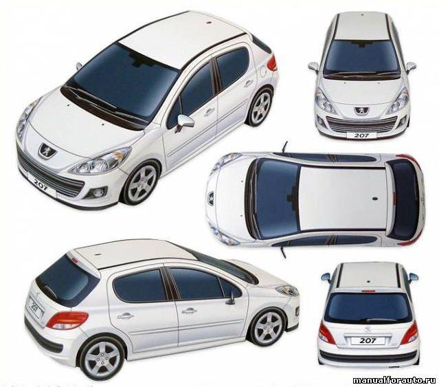 Peugeot 207 модель из бумаги