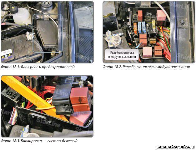 Дополнительную блокировку (бензонасос и модуль зажигания) можно выполнить под капотом Renault Sandero в блоке реле и предохранителей