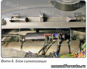 Блок сигнализации крепим двумя хомутами к поперечной балке кузова за приборным щитком Renault Sandero