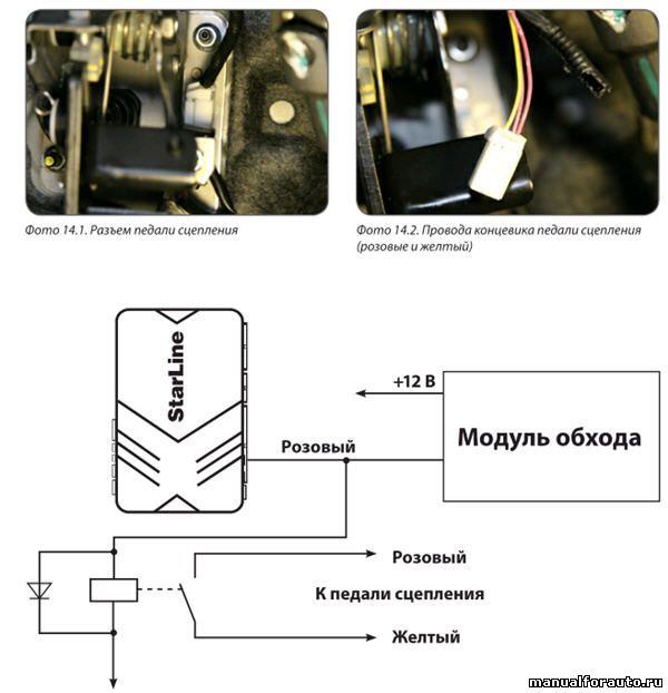 Для запуска двигателя необходимо имитировать нажатие педали сцепления. Для этого подключаем сигнализацию к концевику педали по схеме 2.