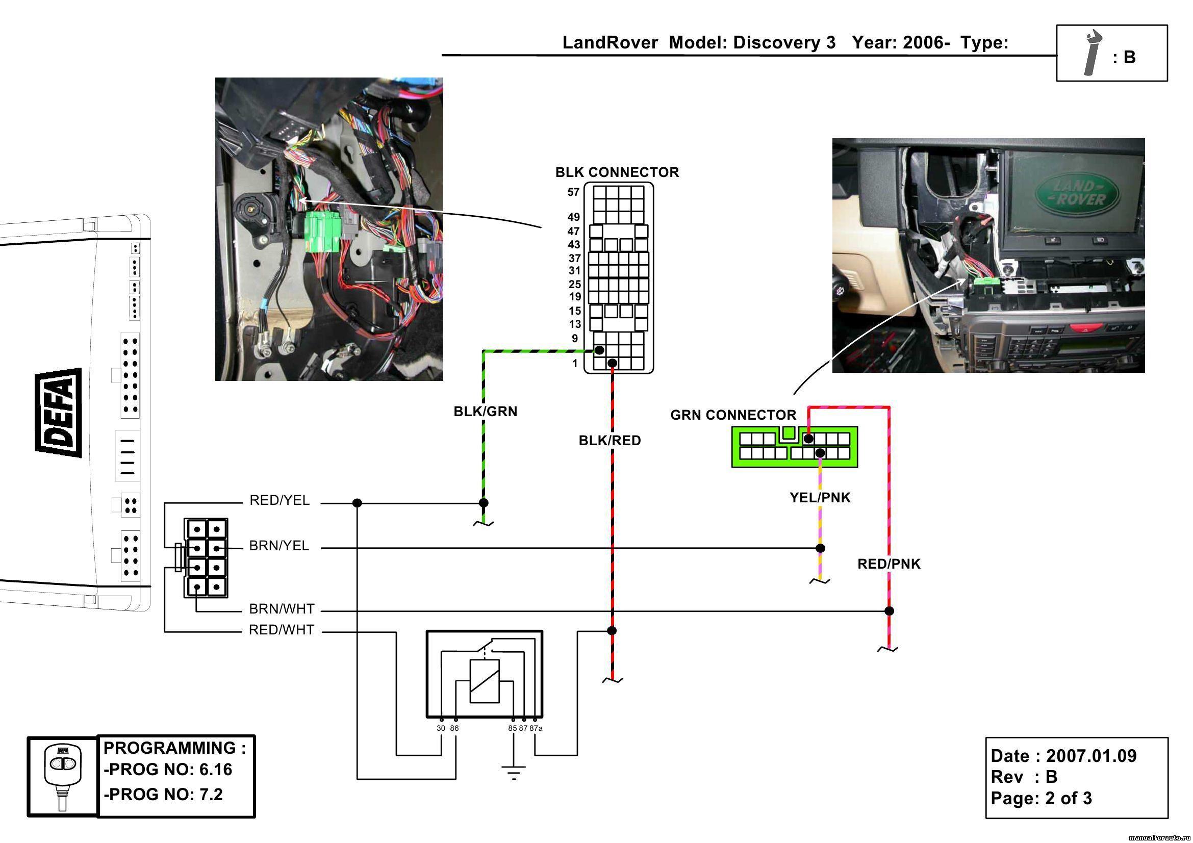 Установка сигнализации Land Rover Discovery 3, точки подключения