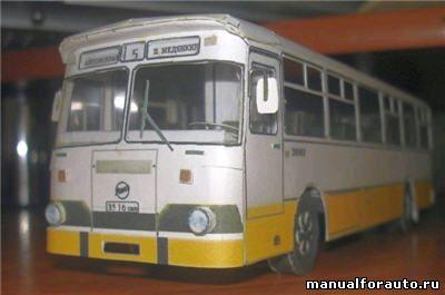 ЛиАЗ 677 (скотовоз) модель из бумаги