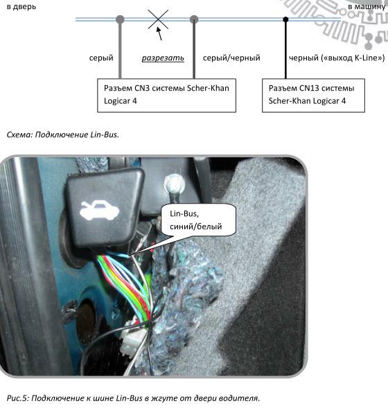 Подключение к шине Lin-Bus Лада Приора